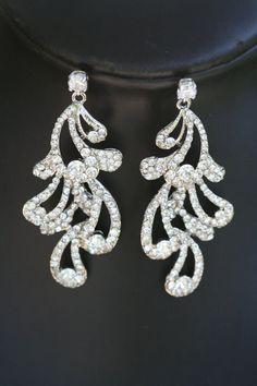 Crystal feather Swarovski chandelier earrings