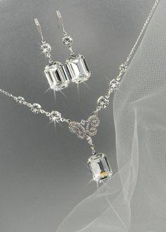 Bridal Jewelry Set, Crystal Pendant Earrings Necklace Jewelry Set , Wedding Jewelry, Bridesmaids Jewelry Set, Kaitlyn Crystal Drop Set. $74.00, via Etsy.