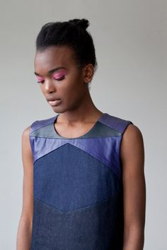 This purple and blue leather-and-denim dress plus this outrageous hot pink eye shadow is just plain magic. #etsy