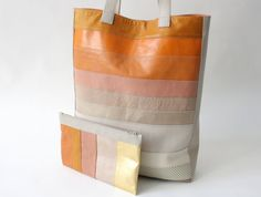 Multicolor Leather Tote with matching clutch apricot by alexbender, €229.00