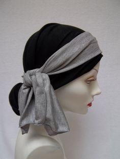 Chemo Head Scarf Tencel Soft Stretchy Black Alopecia Head Cover