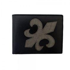 Men's Black Genuine Leather Wallet Laser Fleur De Lis Billfold