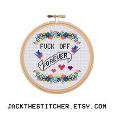 F*ck Off Forever Subversive Modern Cross Stitch Template Pattern Instant PDF Download by JackTheStitcher