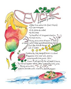 Peruvian Ceviche Illustrated Recipe Comida by RabbitduckWorkshop, $12.00
