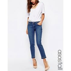 ASOS TALL Kimmi Shrunken Boyfriend Jeans With Let Down Hem in Mid Wash... (74 NZD) ❤ liked on Polyvore featuring jeans, blue, boyfriend jeans, relaxed jeans, asos, slim fit blue jeans and mid rise boyfriend jeans