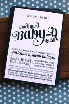 Backyard Baby-Q Bash Shower Invitations - Available in Blue, Green and Coral - PRINTABLE. $20.00, via Etsy. This one Jess!