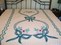 Vintage Chenille Cutter Bedspread Gorgeous Teal Design Queen Size 90 x 102 | eBay