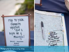 I love different spins on Alternative Wedding Guestbooks! Here is a great idea, use a World Atlas and have your wedding guest sign and write where their favorite vacation spot is in the book (Floridian Weddings, 2013).