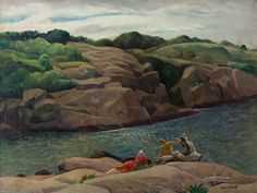 """Leon Kroll (American): Oil Painting, """"The Inlet, Folly Cove, Cape Ann"""""""