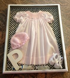 take home outfit from the hospital in a shadow box Hobbies For Girls, Fun Hobbies, Cheap Hobbies, Hobby Lobby Christmas, Take Home Outfit, Vintage Crafts, Girl Nursery, Baby Items, Shadow Box