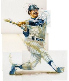 Watercolor painting - portrait of New York Yankees baseball player Reggie Jackson. $60.00, via Etsy.