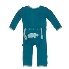 Kickee Pants Applique Coverall - Oasis Hippo