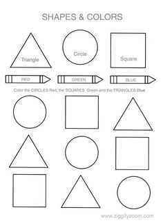 Shapes & Colors Printable Worksheet | Ziggity Zoom