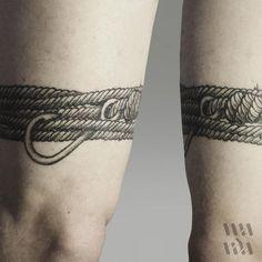 """ThePirate #linework #tattoo #lineworktattoo #blackink #rope #hook #knot"""