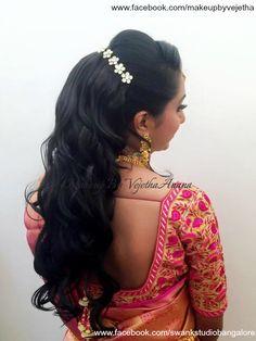 Indian bride's reception hairstyle by Vejetha for Swank Studio. Saree Blouse Design. Hair Accessories. Curls. Tamil bride. Telugu bride. Kannada bride. Hindu bride. Malayalee bride. Find us at https://www.facebook.com/SwankStudioBangalore