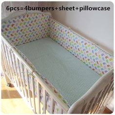 5pcs Children Bedding Set Piece Crib Bumper Crib For Baby, 4bumpers+sheet Bright Promotion