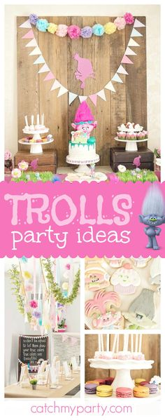 You don't want to miss this fantastic Trolls birthday party! Love the cookies!! See more party ideas and share yours at CatchMyParty.com