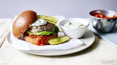 Lamb burgers with mint mayo and tomato relish