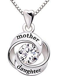 ALOV Jewelry Sterling Silver mother and daughter Love Cubic Zirconia Pendant Necklace -- Click image to review more details.