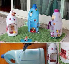 DIY birdhouse/dollhouse with empty milk/fabric conditioner bottles