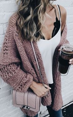 Comfy sweaters, especially oversized ones are so in! Bring on all the sweaters :) Loving this Lace under garment as well.
