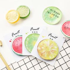 Lemon Pineapple Fruit Stickers Memo Pad Sticky Notes Diary Journal Notebook Decoration Planner Sticker Kawaii Stationery Store