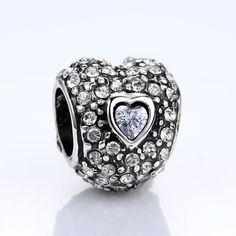 BAMOER Gold Silver with AAA Zircon Heart Shape Charm Beads for Women Bracelets DIY Jewelry Accessories
