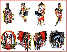 Traditional tattoo flash by roleATL, via Flickr