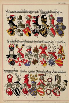 Family Shield, Medieval Paintings, Chivalry, Family Crest, Crests, Medieval Fantasy, Illuminated Manuscript, Coat Of Arms, Badge