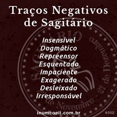 Traços Negativos de Sagitário