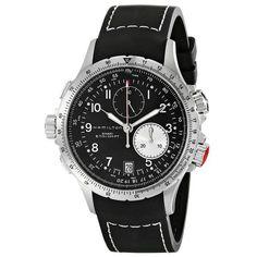 Hamilton H77612333 Men's Khaki ETO Black Dial Black Rubber Strap Chronograph Watch