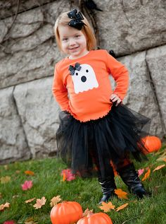 HALLOWEEN  Girls Ghost long sleeve applique shirt size 12 months to 9 on Etsy, $23.00