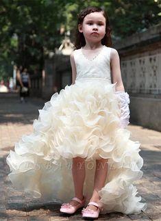 Cute V-Neck Organza Princess Girl Dress Bowknot Hi-Lo Sleeveless Flower Girl Dress Online Flower Girls, Cute Flower Girl Dresses, Tulle Flower Girl, Little Girl Dresses, Baby Dresses, Bridesmaid Dresses, Girls Dresses Online, Girls Pageant Dresses, Girls Formal Dresses