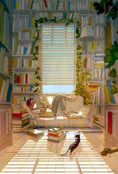 It's Too Hot Out There - by Pascal Campion, digital, 2018 Pascal Campion, Anime Scenery Wallpaper, Photo Chat, Reading Art, Christian Movies, Aesthetic Art, Aesthetic Wallpapers, Photos, Pictures