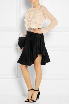 Chloé Ruffled silk-mousseliné blouse NET-A-PORTER.COM