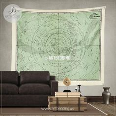 1872 Antique Stieler Map of South Sky Star Chart wall tapestry, vintage interior map wall hanging, old map wall decor, vintage map wall art print