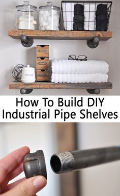 Here is a useful tutorial which shows you how to build easy diy industrial pipe shelves. you will be guided step by step on recreating these industrial Industrial Pipe Shelves, Industrial Interior Design, Industrial House, Industrial Interiors, Diy Pipe Shelves, Shelves With Pipes, Industrial Scandinavian, Pipe Shelving, Industrial Farmhouse Decor