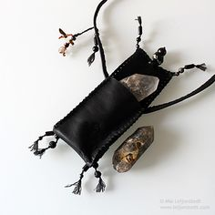 A 'medicine bag' style deer leather pouch I made for carrying crystals