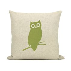 Owl pillow case  Apple green owl print on by ClassicByNature, $52.00