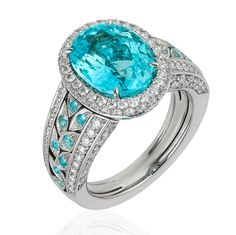 """Paraiba tourmaline ring. American Gem Trade Association (@agta_gems) on Instagram: """"The AGTA Daily Gem: A daily showcase of beautiful gemstones and jewelry from our AGTA Members.…"""""""