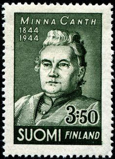 Postage stamp depicting the Finnish writer Minna Canth Vintage Stamps, Stamp Collecting, Art Forms, Art Drawings, Writer, Old Things, Social Activist, Helsinki, Design