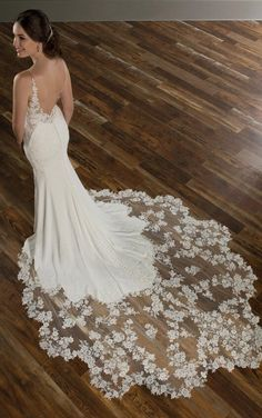 Wedding dress train - Bridesfamily Winsome Tulle & Four Way Spandex Spaghetti Straps Neckline Mermaid Wedding Dresses With Beaded Lace Appliques – Wedding dress train Western Wedding Dresses, Open Back Wedding Dress, Wedding Dress Train, Fit And Flare Wedding Dress, Dream Wedding Dresses, Boho Wedding, Wedding Gowns, Mermaid Wedding, Tulle Wedding