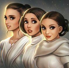 Rey,Leia Organa and Padme Amidala