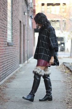 Faux fur boot cuffs, over the knee boots, burgundy leather skirt, fall fashion, windowpane poncho