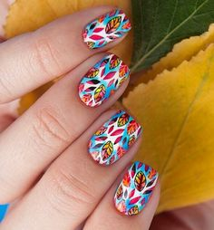 Advanced nail stamp technique. Colorful fall leaves mani.
