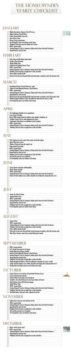 Monthly checklist with suggestions about what to check/clean/replace each month. Helpful reminders! -- idk who actually has time for this but it has some good reminders