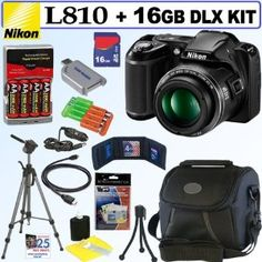 Nikon COOLPIX L810 16.1 MP Digital Camera (Black) + 4 AA Batteries with AC/DC Rapid Charger + 16GB Deluxe Accessory Kit by Nikon. $299.95. The COOLPIX L810, with its incredible image quality, great zoom range and ease-of-use, will bring you photographic enjoyment for years to come. The 26x zoom captures high-resolution images shot after shot for a broad variety of views-22.5mm wide-angle landscapes to 585mm telephoto shots, capturing action near or far. Enhance the moment and...