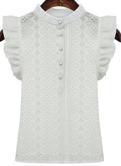 White Ruffle Sleeve Buttons Lace Blouse - Sheinside.com