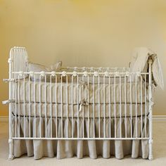 Pom Pom Charlie Organic Linen Crib Bumper Flax #projectnursery #franklinandben #nursery