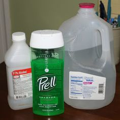 The Prudent Life: Glass Cleaner: 1 Quart Distilled Water, 1/2 cup Rubbing Alcohol, 1/2 Tbsn Prell shampoo.   Mix together in a spray bottle and try it out.
